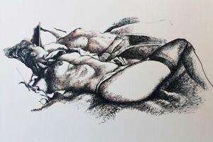 """Renato Guttuso """"Nudo allo specchio """" sensuale litografia con autentica"""
