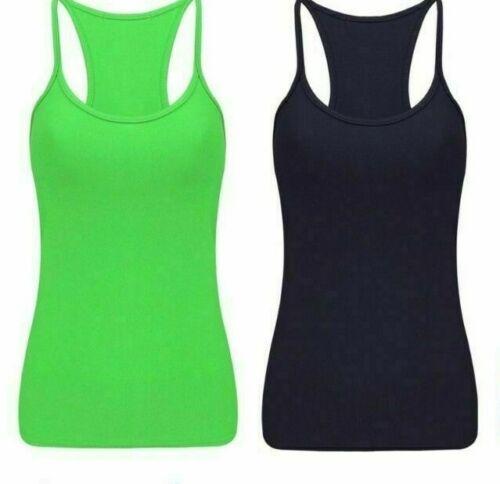 Girls Ladies Casual Neon Vest Top Stretchy Lycra Racer Tops Fancy Dress 8-16 New