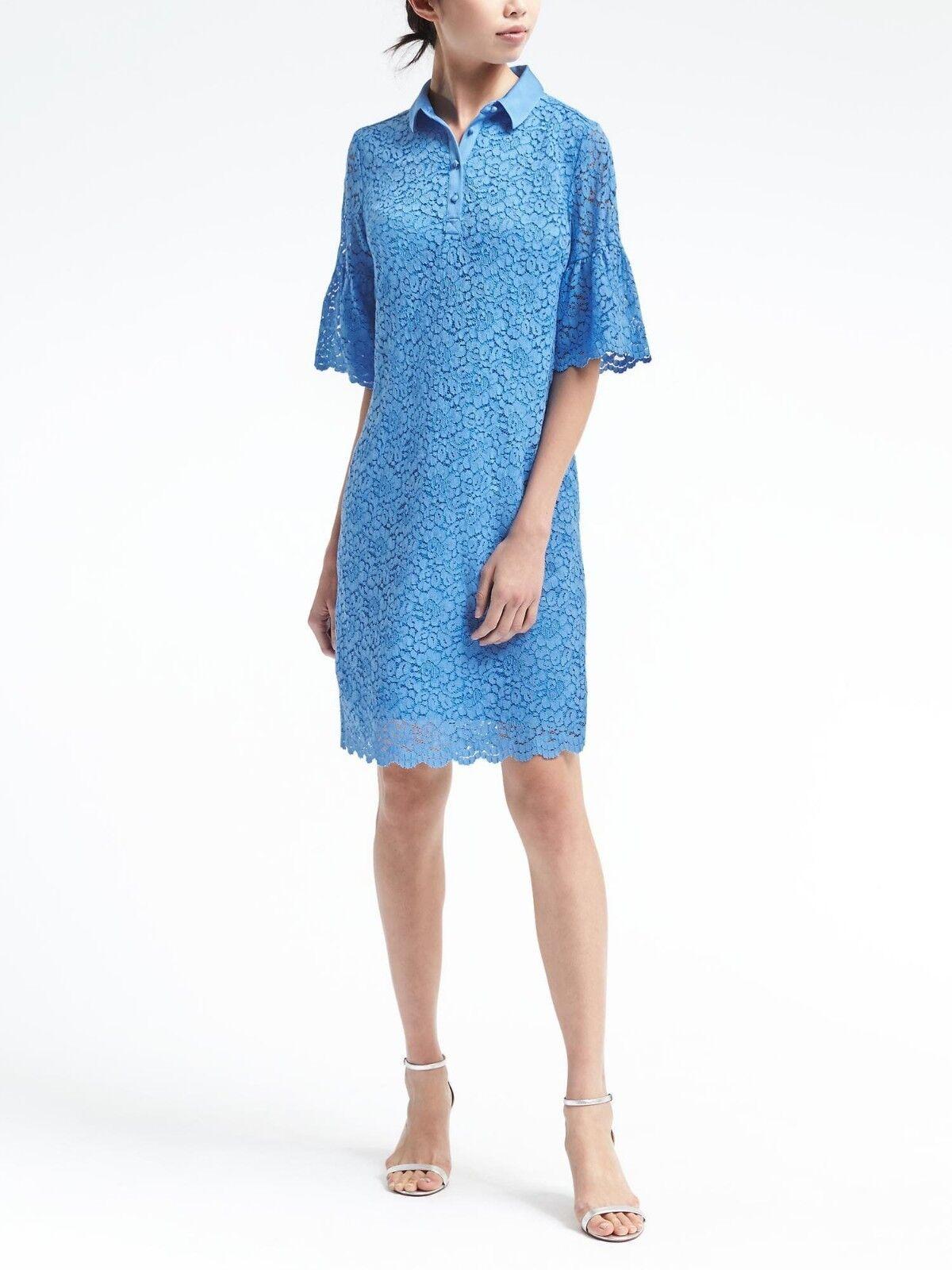 NWT Banana Flutter-Sleeve Lace Polo Dress, Light Blau Größe M      v1127