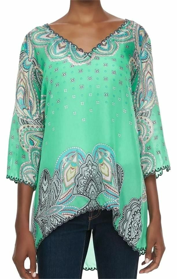 NewJohnny Was Embroiderot Silk Blouse Tunic Sz Large  C56738B-1