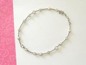 Brighton-MONTE-CARLO-Pearl-Crystal-Twist-Silver-Form-Bar-Necklace