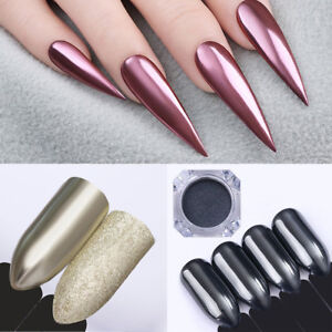 Image Is Loading Shiny Mirror Powder Rose Gold Champagne Silver Nail