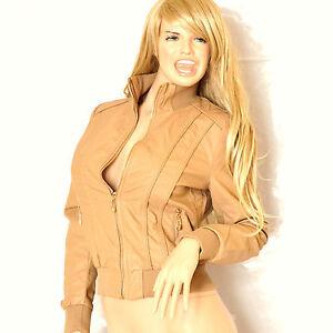 GIUBBINO-donna-beige-giacca-giacchino-giaccone-pelle-avvitato-polsi-elastici-G04