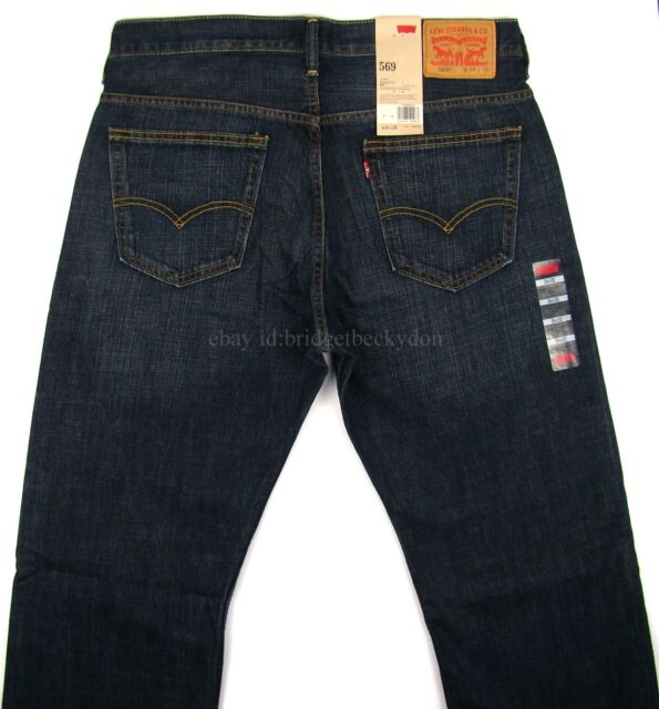 e80fcd8ae10 Levi's Mens 569 Loose Straight Jeans 36w X 34l 34 Dark Chip Blue for ...