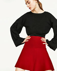 42322b95e6 NWT ZARA RED JERSEY RIBBED KNIT KNITTED FLIPPY FLARE MINI SKIRT M ...