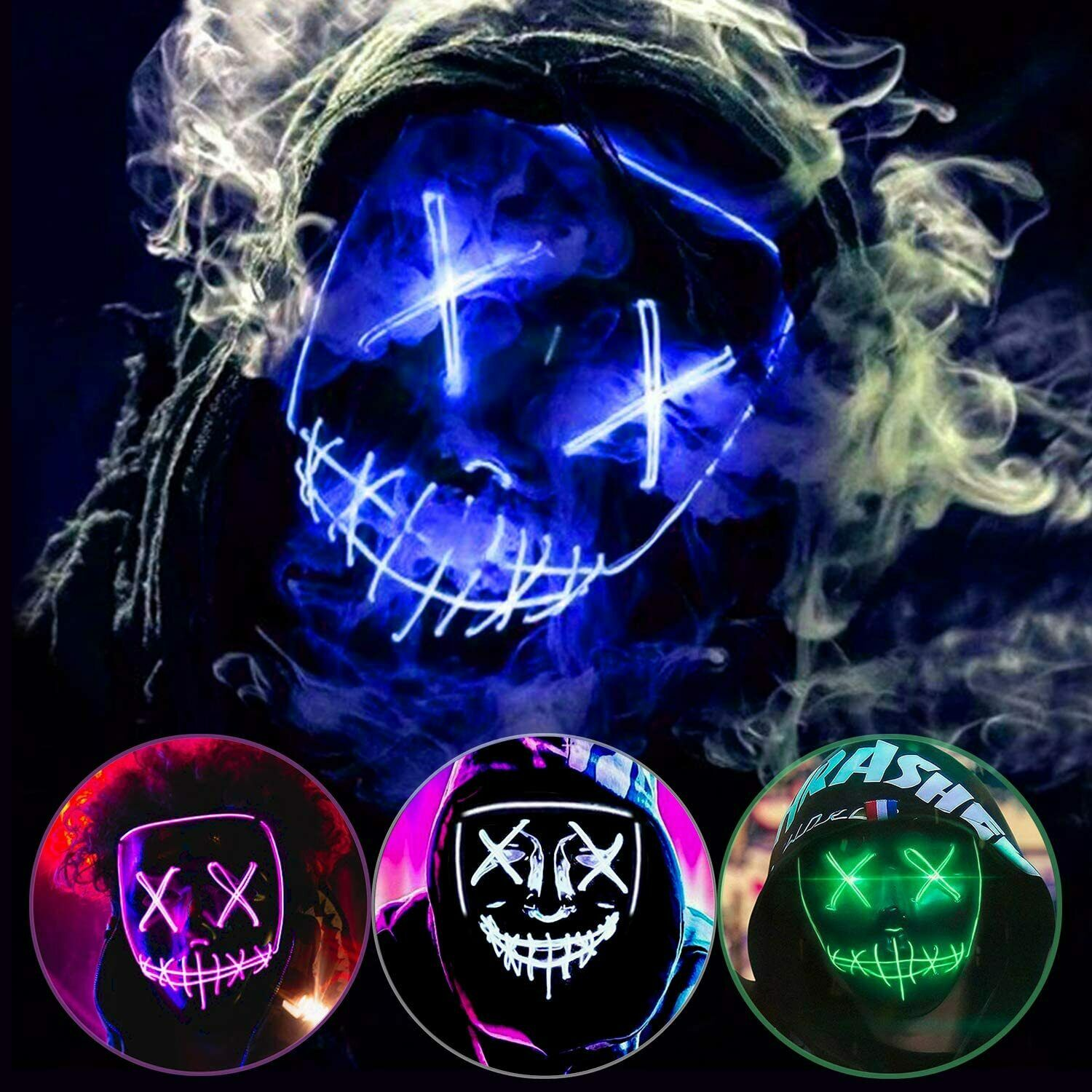NiSotieb LED Princess Mask Halloween Costume Mask Glowing Luminous Eye Mask for Christmas Party Festival Dancing Rave Masquerade Costumes (Blue)