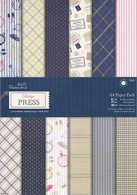 Papermania 24 sheets scrapbooking paper pack A4 160gm Heritage Press for Men Man