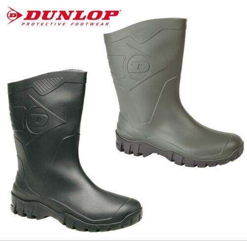 Green or Black Wellies DUNLOP DEE Calf Men/'s Women/'s Short Half Welly Boots