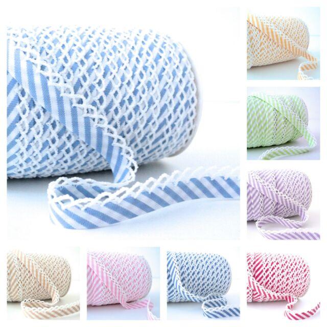 PLAIN picot lace per metre crochet edged double fold bias binding
