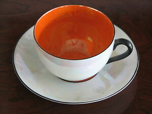 Rudolph-Wachter-RW-Germany-Luster-Orange-Cup-and-Saucers-Black-Handle