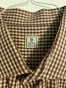 Peter-Millar-Mens-XL-Pink-Brown-Check-Button-Down-Long-Sleeve-Plaid-Shirt