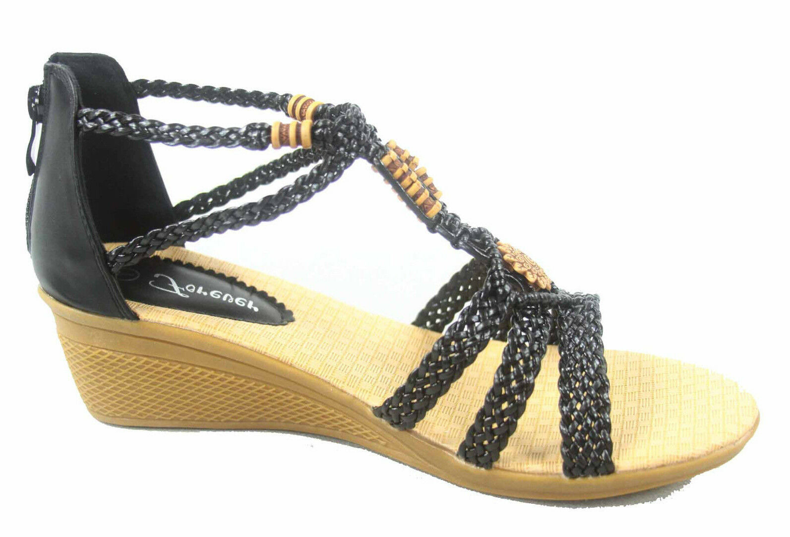 Women's Braided Low Wedge Flat Heel Open Toe Ankle Strap -10 Sandal Shoes Size 6 -10 Strap 12fc12