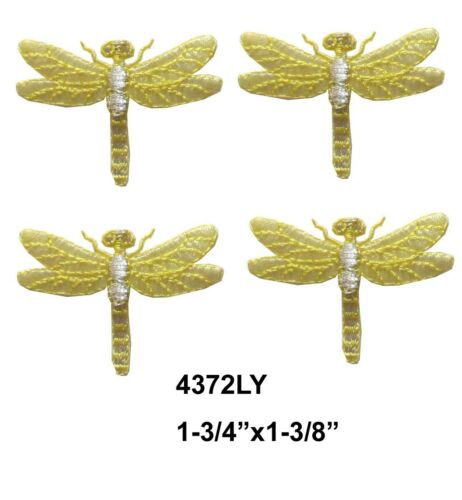 #4372LY Lot 4Pcs Yellow\Silver Dragonfly Embroidery Iron On Applique Patch