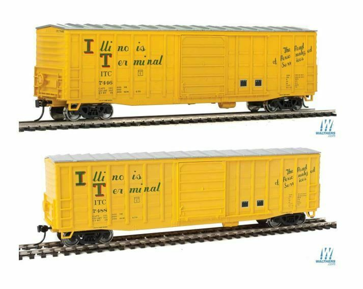 Lot of 2-HO WALTHERS 910-2327 2328 ILLINOIS TERMINAL 50' Waffle-Side Boxcars