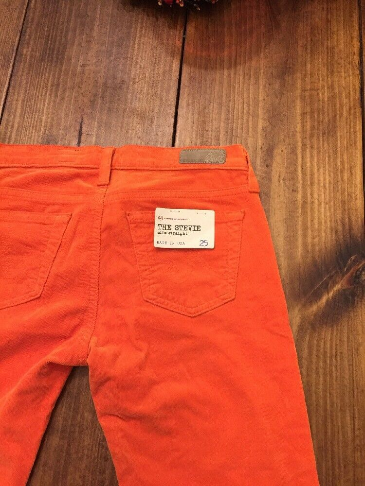 Bright orange ADRIANO goldSCHMIED The Stevie Slim Straight Corduroy 25 NWT  168
