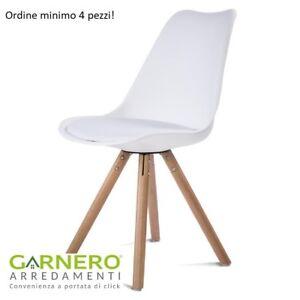 Dettagli su Sedia RALF C, imbottitura in ecopelle bianca, gambe in legno, design attuale