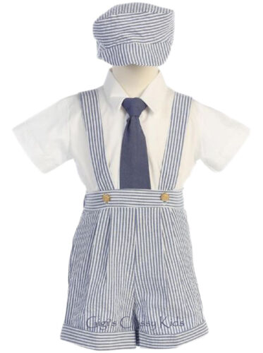 New Baby Toddler Boys Striped Seersucker Suspender Shorts 4 Pc Set Outfit G822