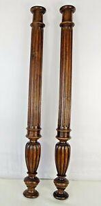 25-5-034-French-Antique-Pair-Carved-Wood-Trim-Posts-Pillars-Columns-Walnut