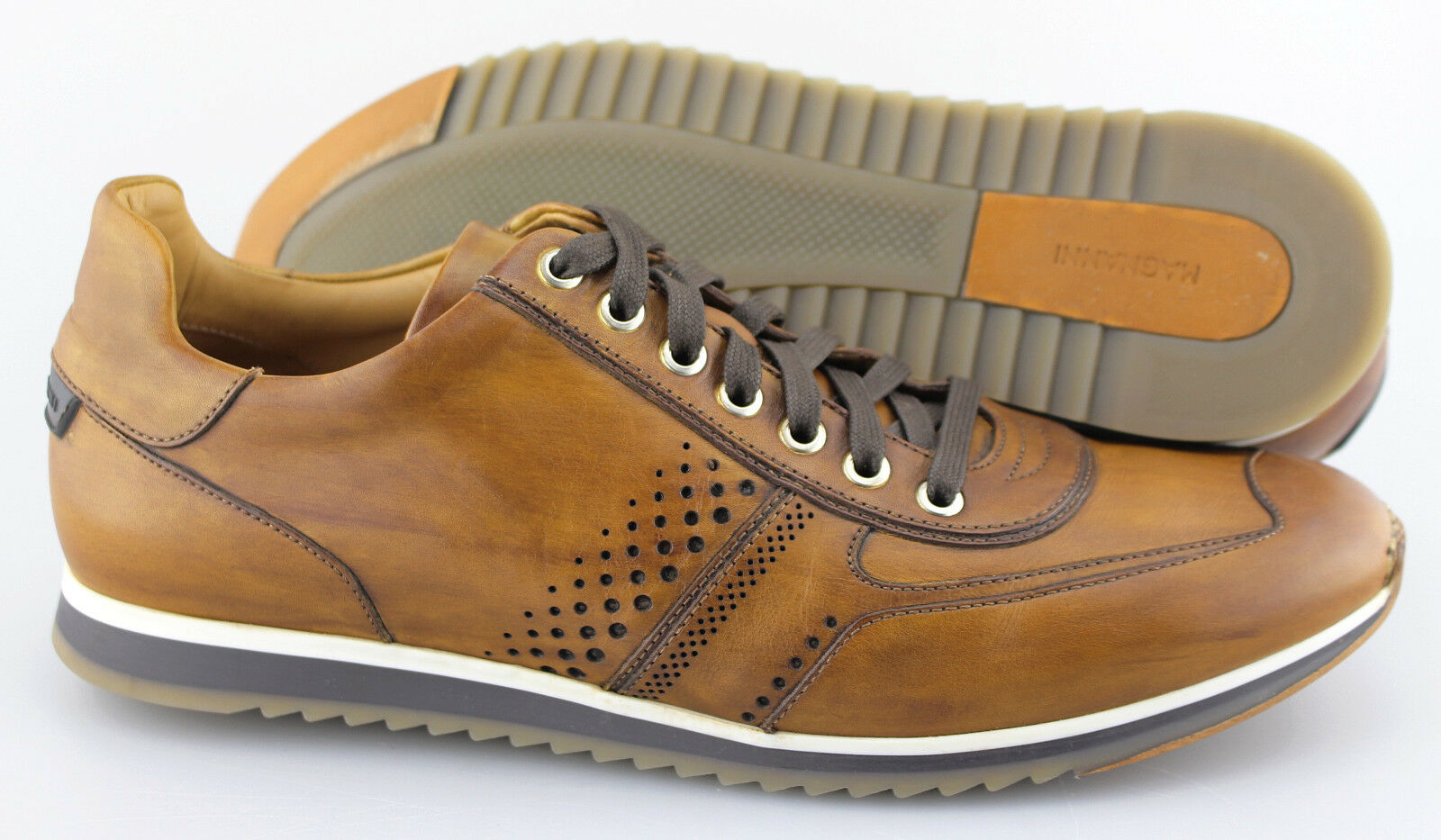 Men's MAGNANNI 'Cristian' Brown Leather Sneakers Size US 9 - D