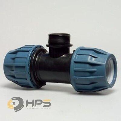 PE Rohr T-Stück Verschraubung mit AG in verschied. Größen, DVGW  Trinkwasser