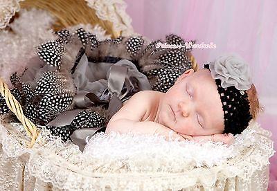 Infant Grey Mix Peacock Feather Newborn Baby Tutu Pettiskirt Skirt Dress NB-2Y
