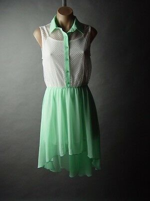 Sale White Lace Pastel Mint Green Chiffon Skirt Twofer Party 08 mv Dress S M L