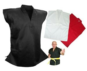 Details about Martial Arts Uniform Sleeveless Gi Top for Karate, Taekwondo,  Black/White/Red