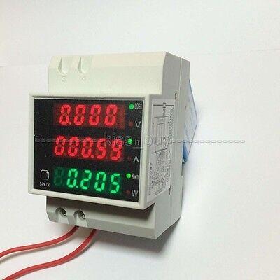 AC 220V 380V Digital DIN RAIL 100A KWH watt energy power meter Ammeter Voltmeter
