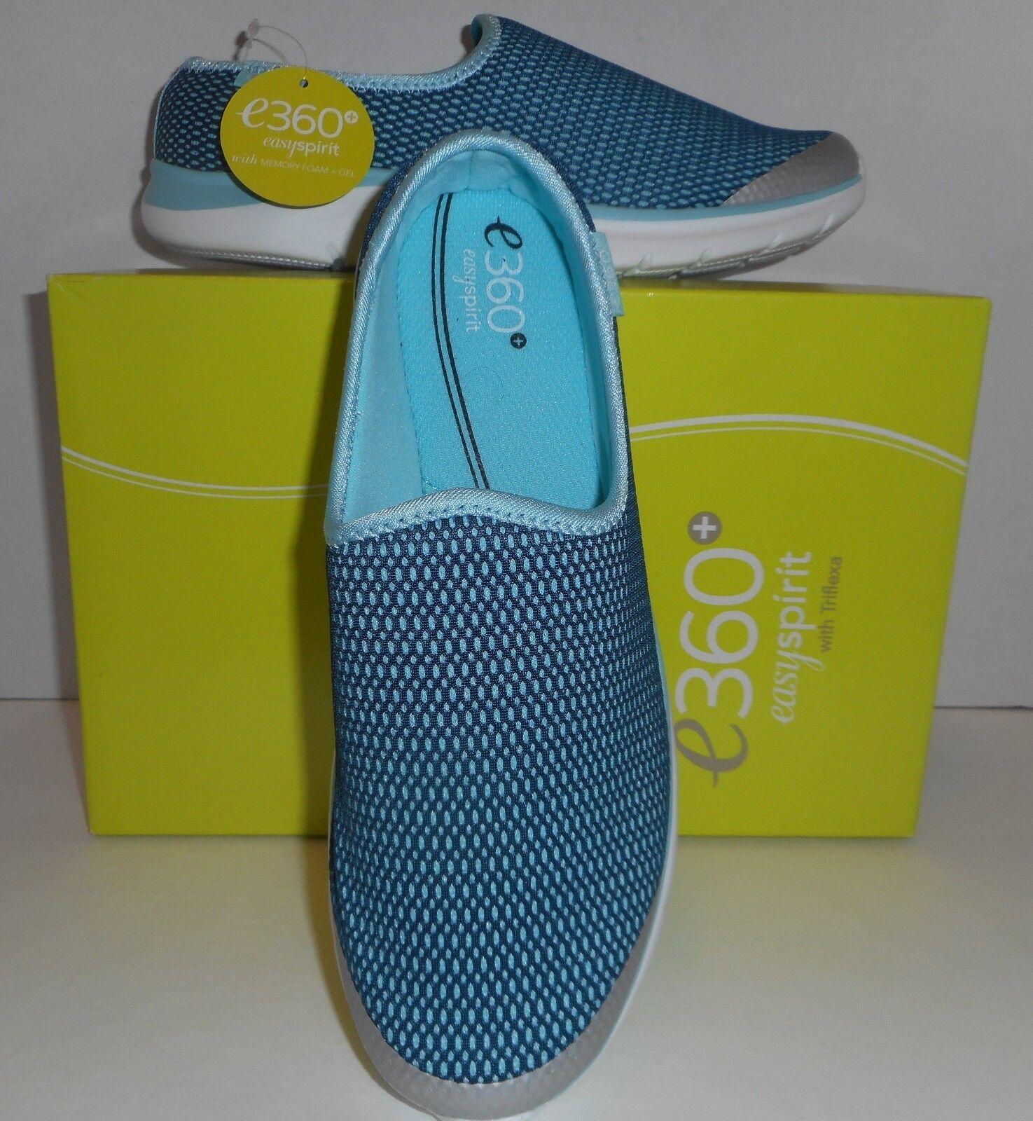 NIB Easy Spirit e360 Make Moves Women Round Toe Canvas Blue Walking Shoe