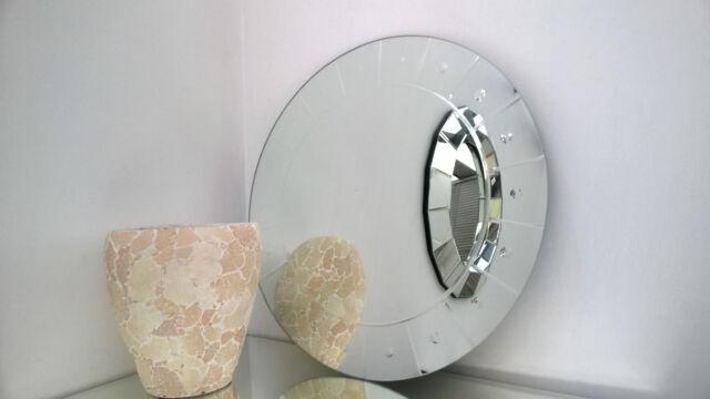 . Contemporary Engraved Round Wall Mirror 60x60cm Stylish Stud Design