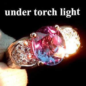 Natural-CHANGE-Color-Blue-Purple-SPINEL-amp-Sapphire-925-STERLING-SILVER-RING-7-5