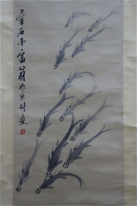 Excellent-Chinese-100-Hand-Scroll-amp-Painting-Fish-By-Qi-baishi-WED3689