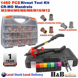 1110 Pcs Rivnut Nuserts Tool Kit Assortment Riveter Gun Rivet Nut M3 - M12