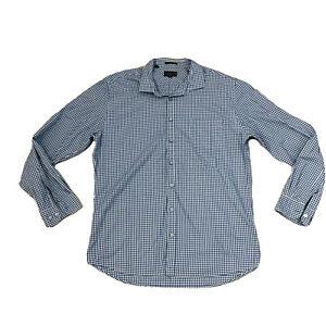 Rodd-amp-Gunn-Men-039-s-Blue-Plaid-Check-Button-Shirt-Long-Sleeve-Size-XLarge