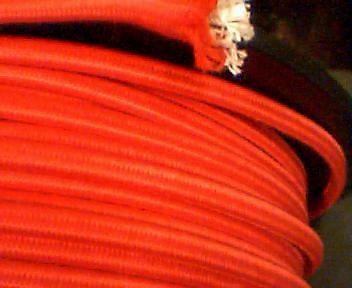 per foot-18 ga LAMP ac cord,RED,2-wire,CLOTH