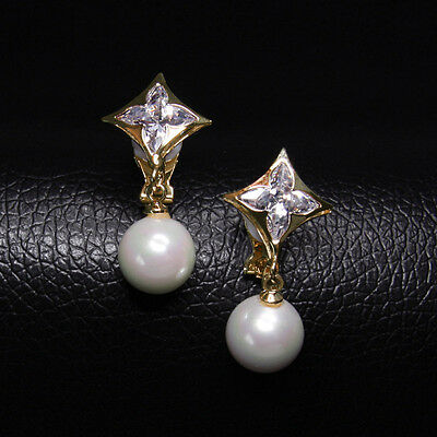 18K YELLOW GOLD PLATED GENUINE CUBIC ZIRCONIA & PEARL DANGLE CLIP-ON  EARRINGS