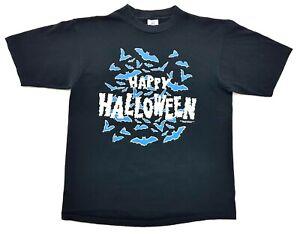 Vintage-Happy-Halloween-Glow-in-Dark-1991-Tee-Black-Size-L-Single-Stitch-T-Shirt
