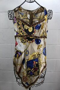 98-CACHE-Nautical-Ocean-Chain-Seashell-Print-Handkerchief-Blouse-Tank-Top-L-NWT
