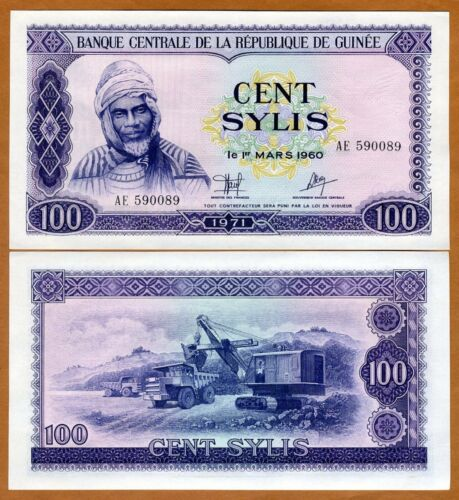 1971 Pick 19 Guinea,100 Sylis UNC