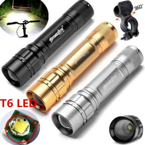 SkyWolfEye Zoomable Focus T6 LED Mini Flashlight Torch 18650 50000LM Lamp Holder