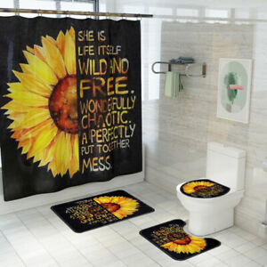 Sunflower-Bathroom-Rug-Set-Shower-Curtain-Non-Slip-Toilet-Lid-Cover-Bath-Mat