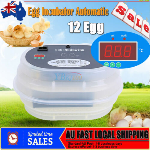 12Egg Incubator Full Auatic Digital Turning Chicken Quail Duck Goose Poultry