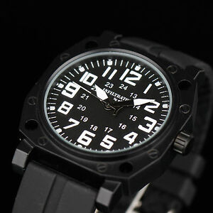 INFANTRY-Mens-Analog-Quartz-Wrist-Watch-Army-Military-Sport-Black-Rubber-Fashion