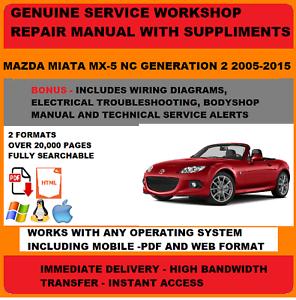 Genuine Oem Workshop Service Repair Manual Mazda Mx5 2005