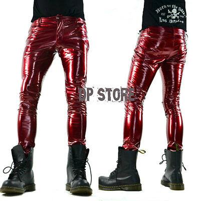 LIP SERVICE RED VINYL PVC LATEX LOOK FETISH SKINNY GOTHIC JEANS SHINY ROCK PANTS