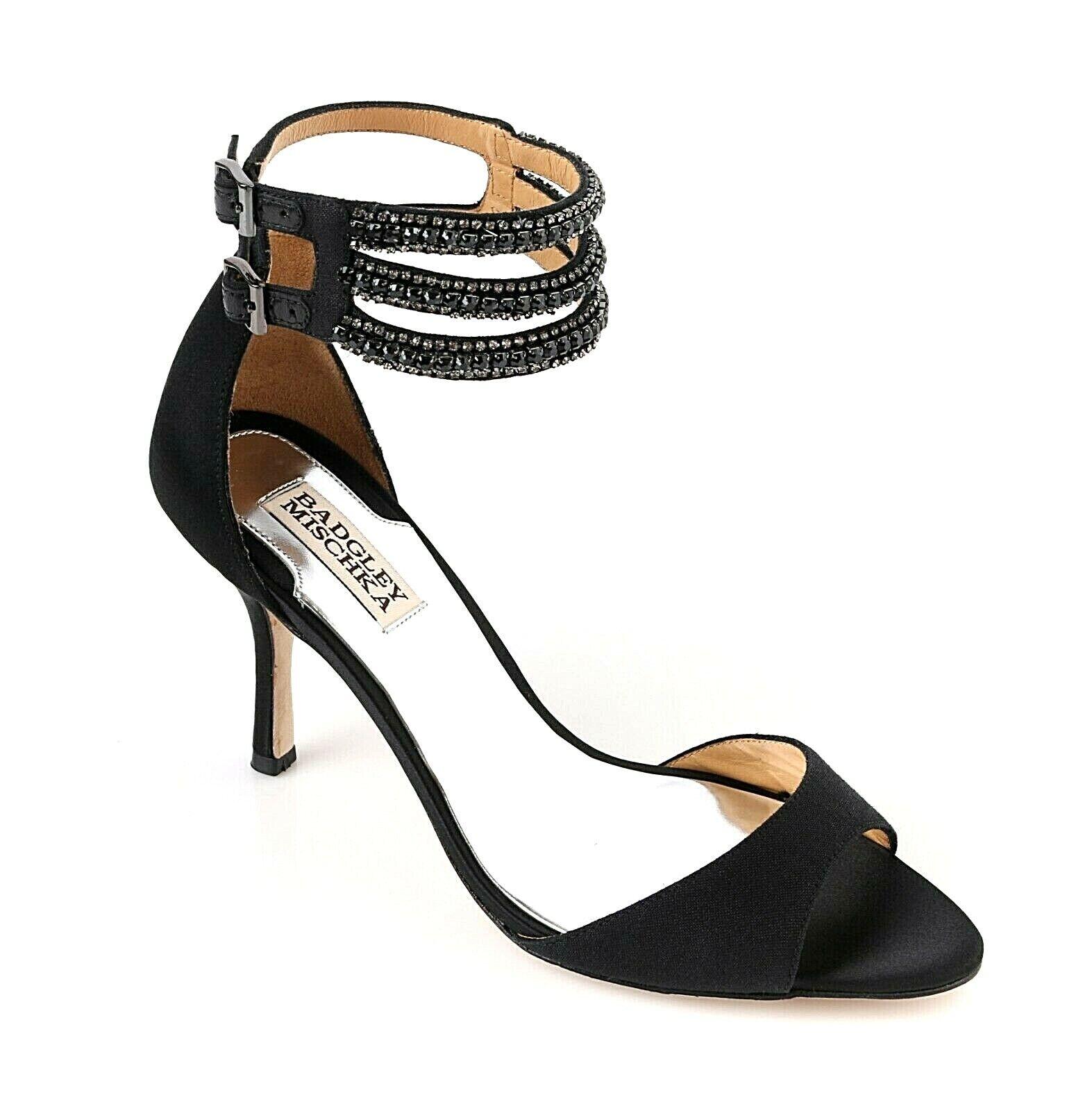 BADGLEY MISCHKA  Dazzler  Black Satin Rhinestone Ankle Strap Sandals Heels 8 NIB