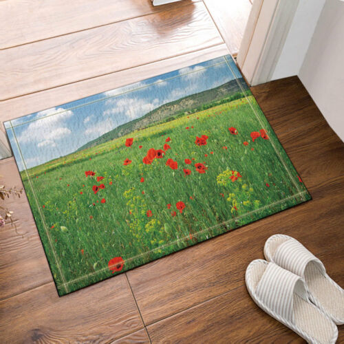 """Flower Bathroom Shower Curtain Wild red poppies and hill Waterproof Fabric 70/"""""""