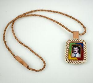 Necklace-Escapulario-Malverde-Braided-Color-Brown