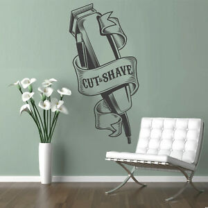 Barbershop Wall Sticker Sign Wall Art Vinyl Decal Sticker Mural Barber Shaver Ebay