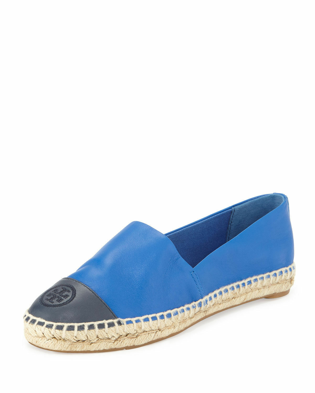 NIB Tory Burch Colorblock Cap-Toe Espadrilles Shoes Jelly Blue Tory Navy 10 M